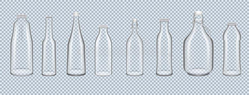Σύνολο relistic τρισδιάστατων μπουκαλιών γυαλιού, δοχεία των διάφορων μορφών διανυσματική απεικόνιση
