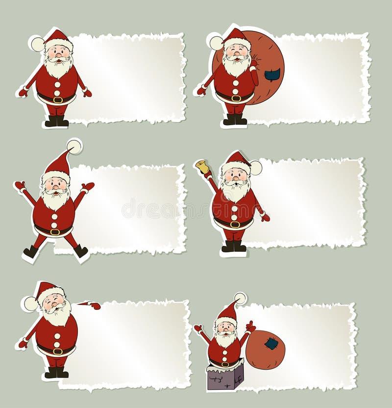 σύνολο santa ετικετών Claus Χριστ&omi διανυσματική απεικόνιση