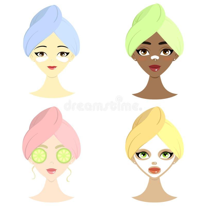 Σύνολο SPA όμορφων γυναικών του διαφορετικού έθνους με τη μάσκα, hydrogel το μπάλωμα ματιών, το αγγούρι και τη μάσκα για τη μύτη ελεύθερη απεικόνιση δικαιώματος