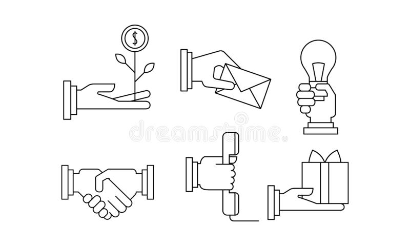 Σύνολο Vectoe απλών επιχειρησιακών εικονιδίων στο γραμμικό ύφος Απεικονίσεις με τα ανθρώπινα χέρια και τα διαφορετικά αντικείμενα ελεύθερη απεικόνιση δικαιώματος