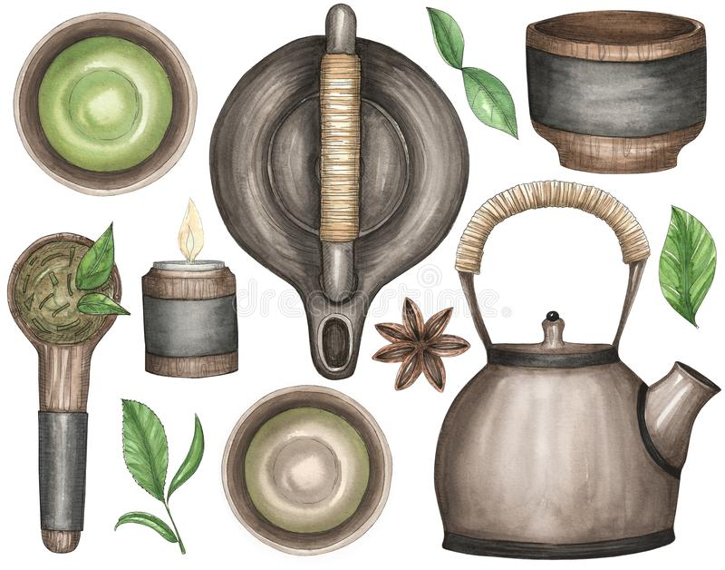Σύνολο Watercolor απεικονίσεων για το κινεζικό τσάι απεικόνιση αποθεμάτων