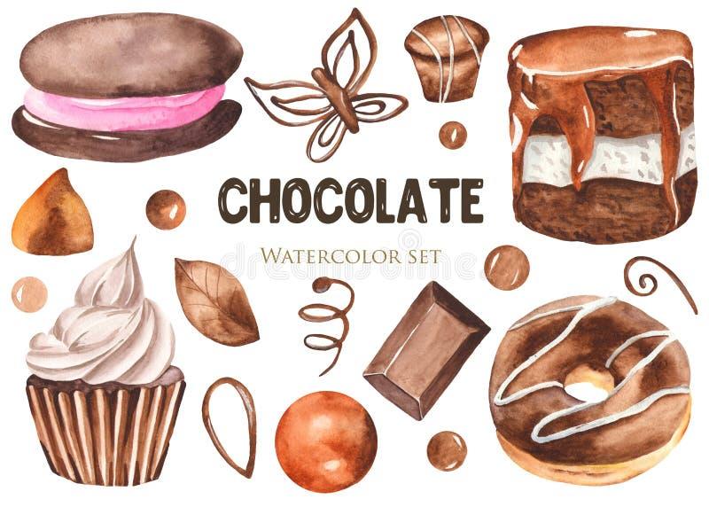 Σύνολο Watercolor γλυκών Donuts, cheesecakes, κέικ, γλυκά, muffins, σοκολάτα απεικόνιση αποθεμάτων