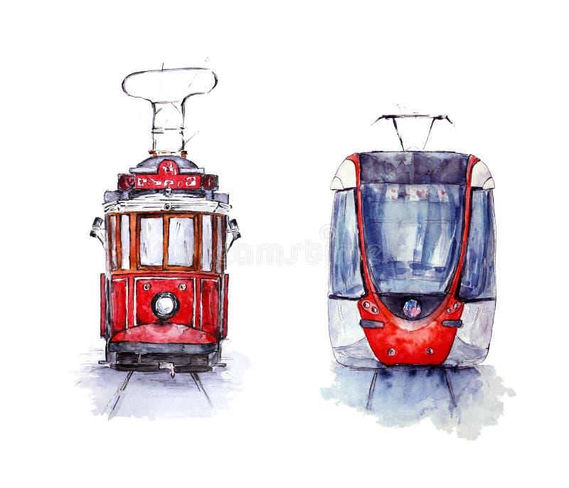 Σύνολο Watercolor δύο τραμ της Ιστανμπούλ: νοσταλγικός και νέος ελεύθερη απεικόνιση δικαιώματος