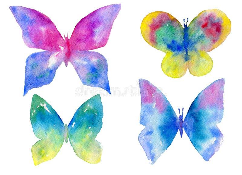 Σύνολο Watercolor πολύχρωμων πεταλούδων που απομονώνεται στο άσπρο υπόβαθρο ελεύθερη απεικόνιση δικαιώματος