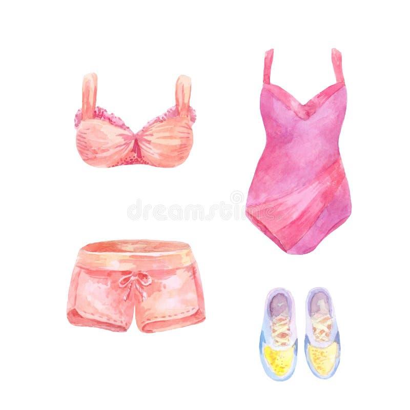 Σύνολο Watercolor beachwear, ενδυμάτων γυναικών ` s ελεύθερη απεικόνιση δικαιώματος