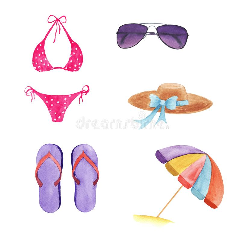 σύνολο watercolor beachwear και εξαρτημάτων ελεύθερη απεικόνιση δικαιώματος