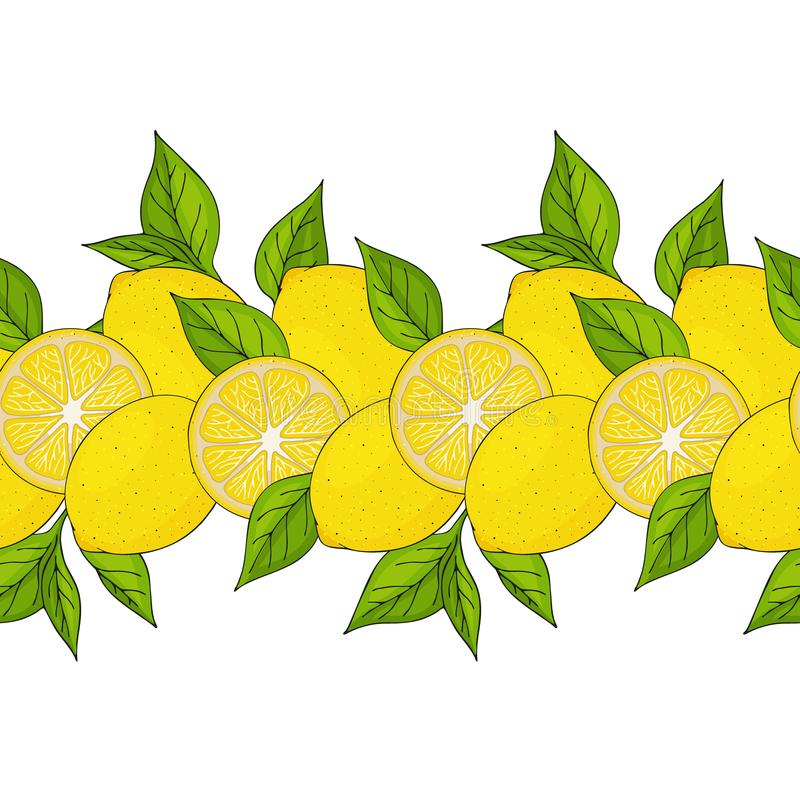 σύνορα άνευ ραφής κίτρινα λεμόνια και φύλλα απεικόνιση αποθεμάτων