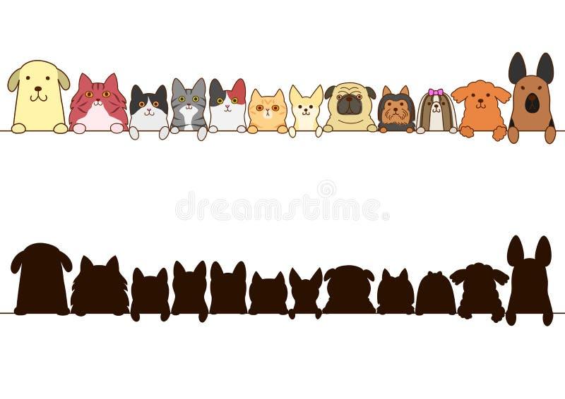 Σύνορα γατών και σκυλιών που τίθενται με τη σκιαγραφία διανυσματική απεικόνιση