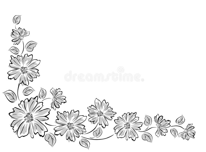 Σύνορα γωνιών με τα αφηρημένα λουλούδια στοκ φωτογραφίες με δικαίωμα ελεύθερης χρήσης