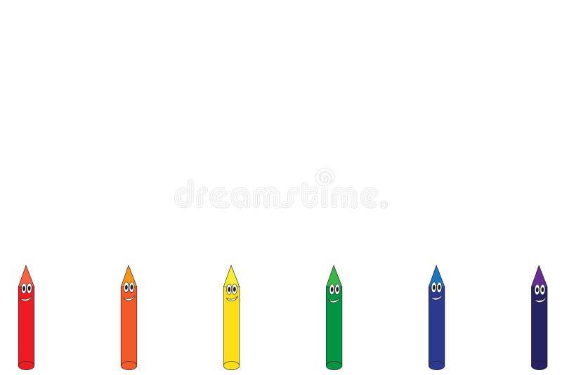 Σύνορα κινούμενων σχεδίων κραγιονιών ουράνιων τόξων διανυσματική απεικόνιση