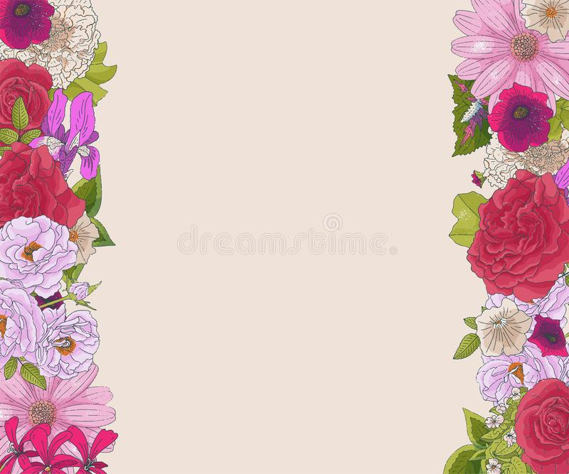 Σύνορα με τα διαφορετικά λουλούδια στο ύφος doodle Συρμένα χέρι στοιχεία για το γαμήλιο floral σχέδιο, ευχετήρια κάρτα, διάνυσμα απεικόνιση αποθεμάτων