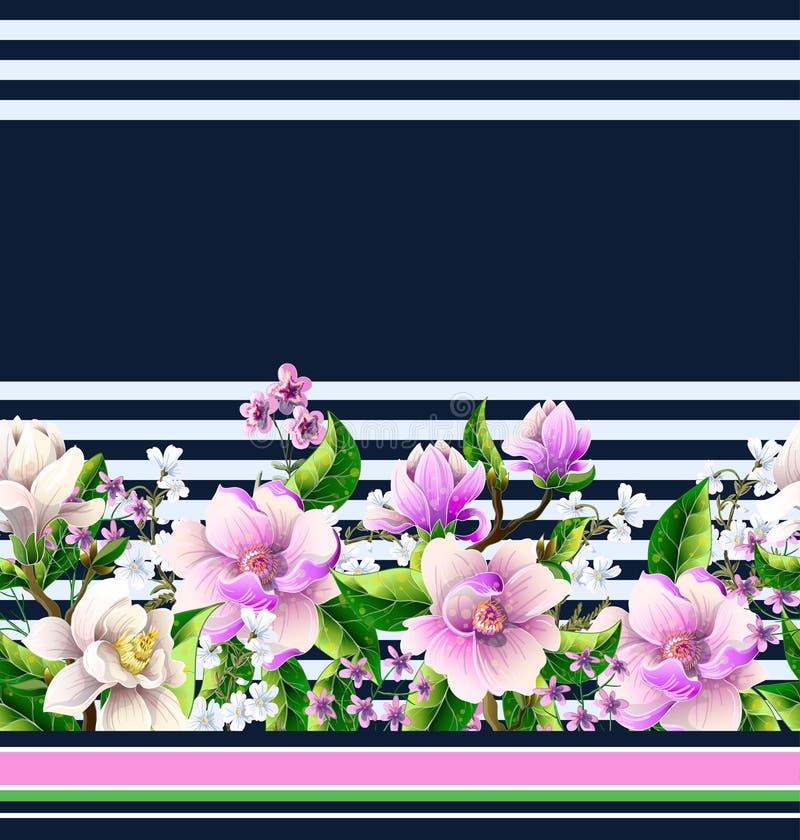 Σύνορα με τα λουλούδια magnolia επίσης corel σύρετε το διάνυσμα απεικόνισης ελεύθερη απεικόνιση δικαιώματος