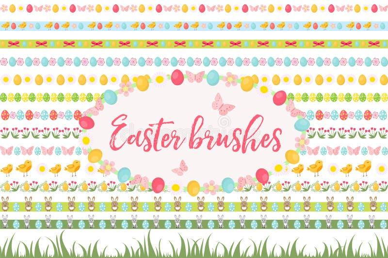 Σύνορα Πάσχας, διακόσμηση, σύνολο γιρλαντών Έμβλημα με τη χλόη, τα αυγά, τα λουλούδια και άλλα στοιχεία Διανυσματική απεικόνιση,  ελεύθερη απεικόνιση δικαιώματος