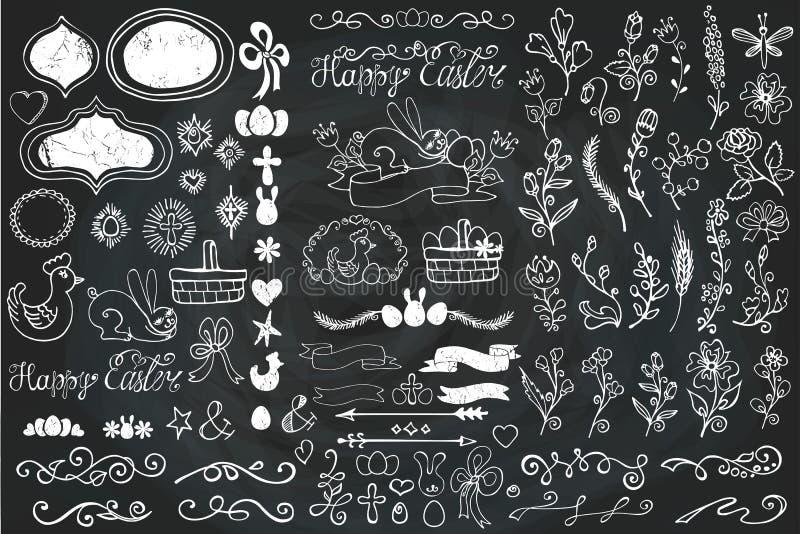Σύνορα Πάσχας Doodle, αυγό, κορδέλλες, floral ντεκόρ διανυσματική απεικόνιση