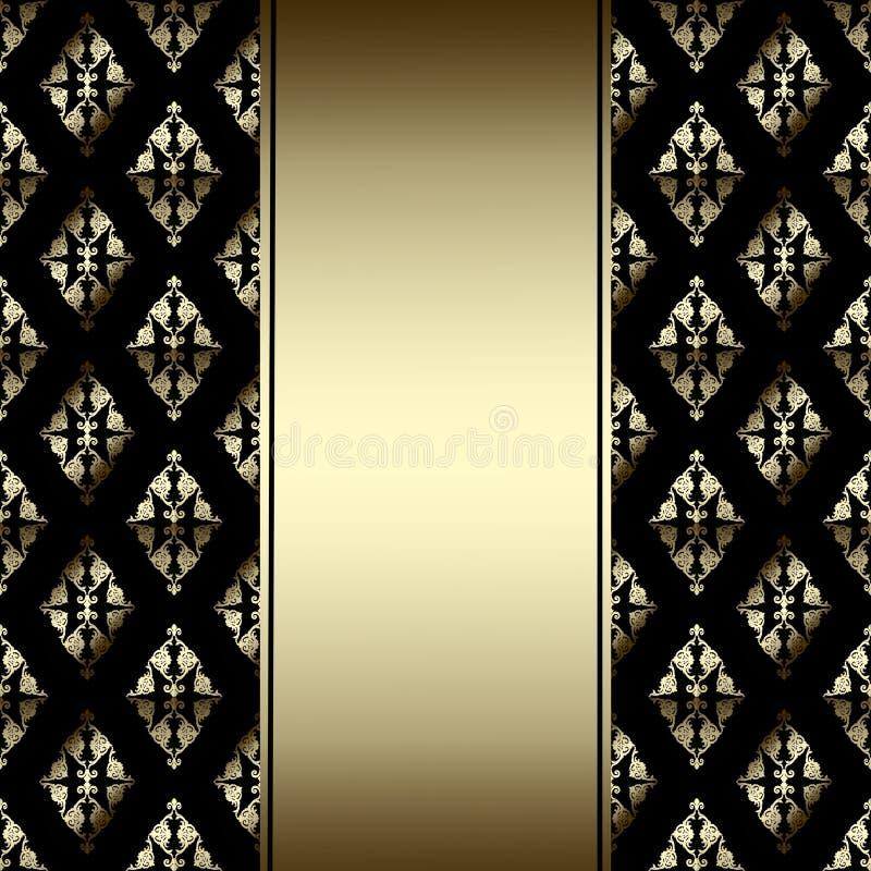 Σύνορα πολυτέλειας με τη χρυσή διακόσμηση σε ένα μαύρο υπόβαθρο απεικόνιση αποθεμάτων