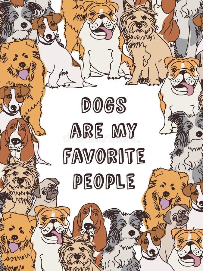 Σύνορα πλαισίων σκυλιών ομάδας και χρώμα σημαδιών διανυσματική απεικόνιση