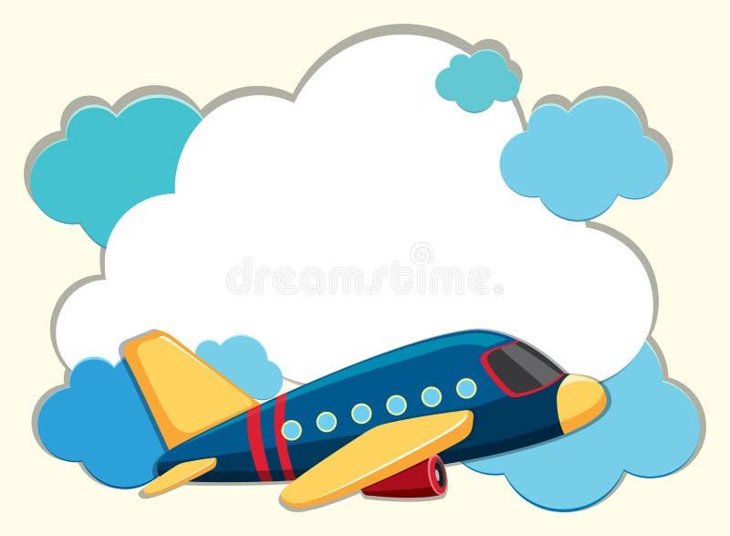 Σύνορα σύννεφων με το μπλε αεροπλάνο απεικόνιση αποθεμάτων