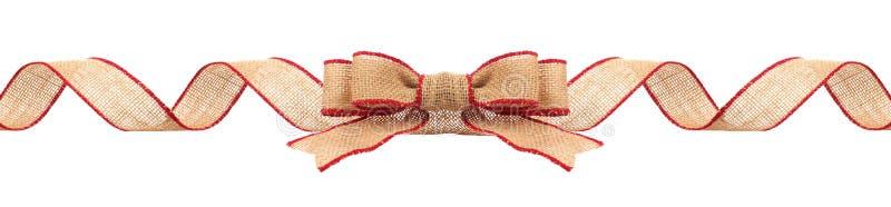 Σύνορα Χριστουγέννων με burlap την κορδέλλα την κόκκινη περιποίηση που απομονώνεται με