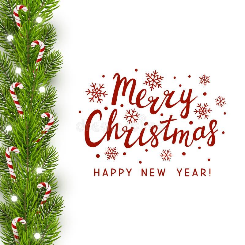 Σύνορα χριστουγεννιάτικων δέντρων με τις καραμέλες διανυσματική απεικόνιση