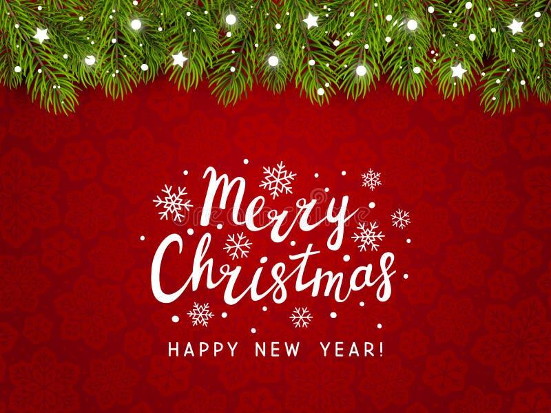 Σύνορα χριστουγεννιάτικων δέντρων με το ντεκόρ διακοπών διανυσματική απεικόνιση