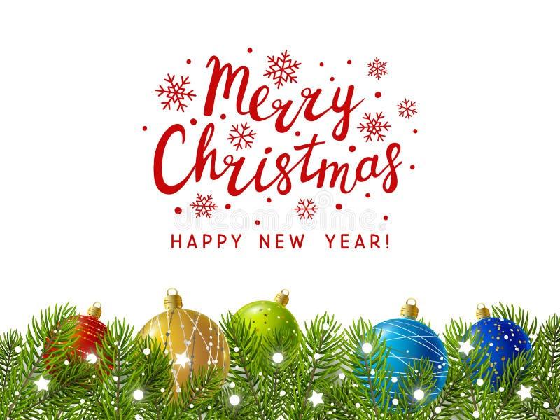 Σύνορα χριστουγεννιάτικων δέντρων με το ντεκόρ ελεύθερη απεικόνιση δικαιώματος
