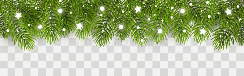 Σύνορα χριστουγεννιάτικων δέντρων με το ντεκόρ διανυσματική απεικόνιση