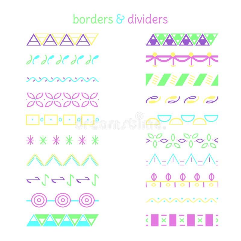 Σύνορα χρώματος Σύνολο διαφορετικών διακοσμητικών στοιχείων ελεύθερη απεικόνιση δικαιώματος