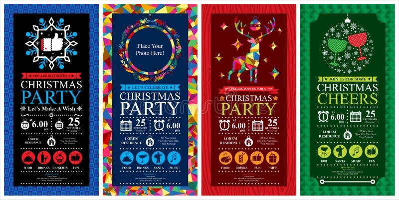 Σύνολα καρτών πρόσκλησης γιορτής Χριστουγέννων ελεύθερη απεικόνιση δικαιώματος