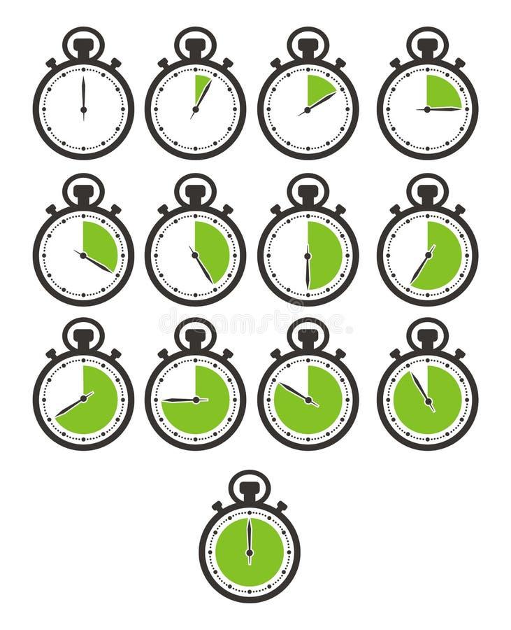 Σύνολα χρονικών εικονιδίων - χρονόμετρο με διακόπτη, πράσινο χρώμα απεικόνιση αποθεμάτων