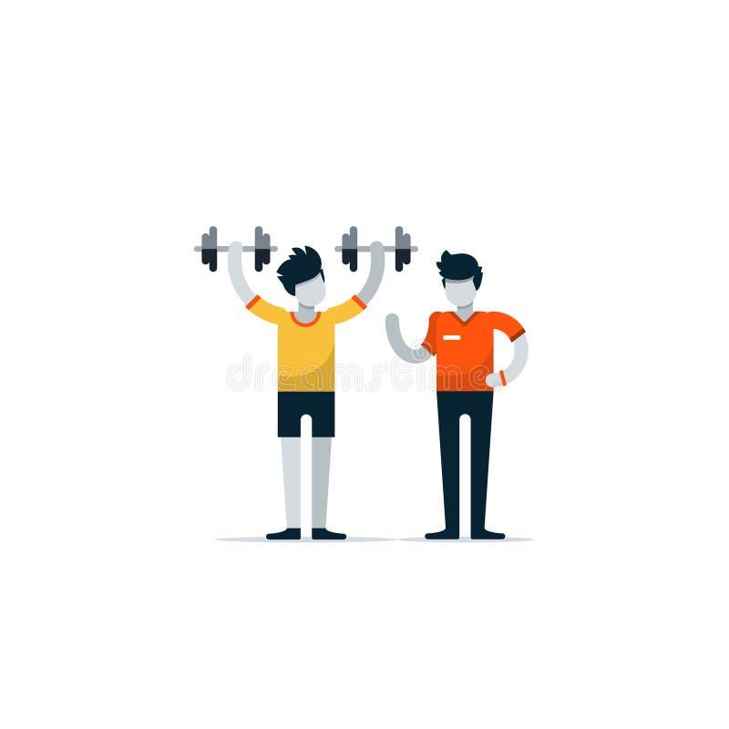 Σύνοδος αθλητικής γυμναστικής workout με τον εκπαιδευτή ελεύθερη απεικόνιση δικαιώματος