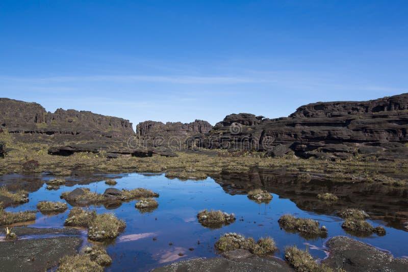 Σύνοδος Κορυφής του υποστηρίγματος Roraima, παράξενος κόσμος φιαγμένος από ηφαιστειακό μαύρο ST στοκ φωτογραφίες