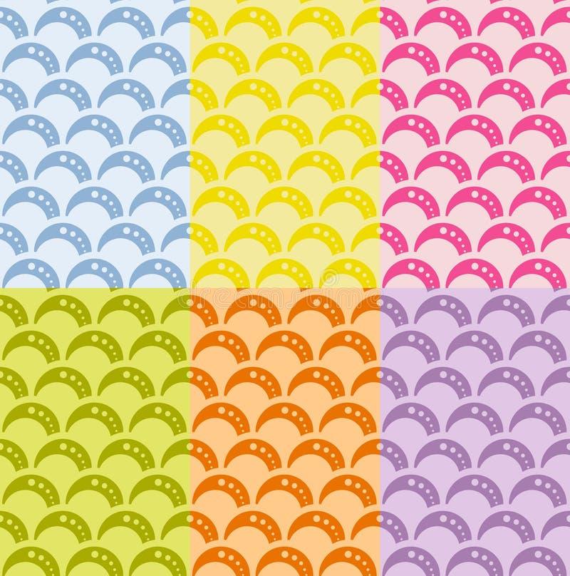 Σύνολο άνευ ραφής γεωμετρικού σχεδίου με τα κύματα στο αναδρομικό ύφος, μαλακά χρώματα. ελεύθερη απεικόνιση δικαιώματος