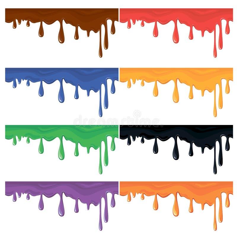 Σύνολο άνευ ραφής ζωηρόχρωμων παφλασμών χρωμάτων διανυσματική απεικόνιση