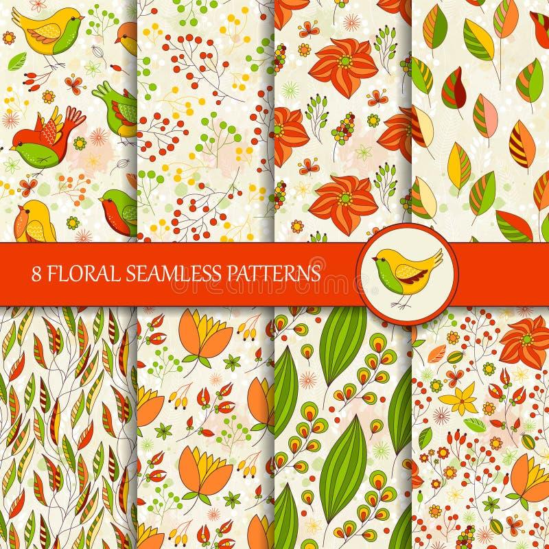 Σύνολο 8 άνευ ραφής ζωηρόχρωμων floral σχεδίων διανυσματική απεικόνιση