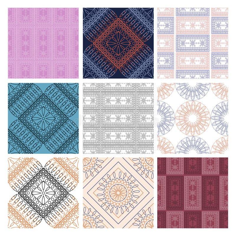 Σύνολο άνευ ραφής διανυσματικών γεωμετρικών σχεδίων με τα διακοσμητικά στοιχεία απεικόνιση αποθεμάτων