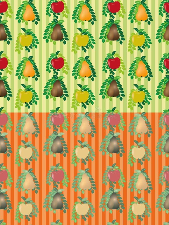 Σύνολο άνευ ραφής διανυσματικών σχεδίων φρούτων απεικόνιση αποθεμάτων