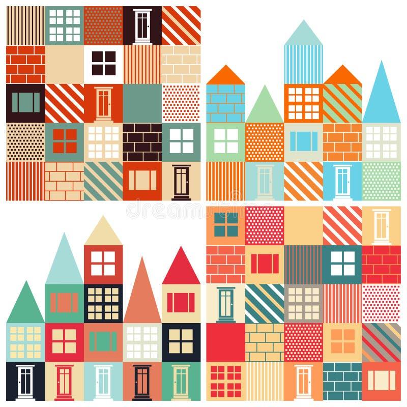 Σύνολο άνευ ραφής διανυσματικών υποβάθρων με με τα σπίτια διανυσματική απεικόνιση