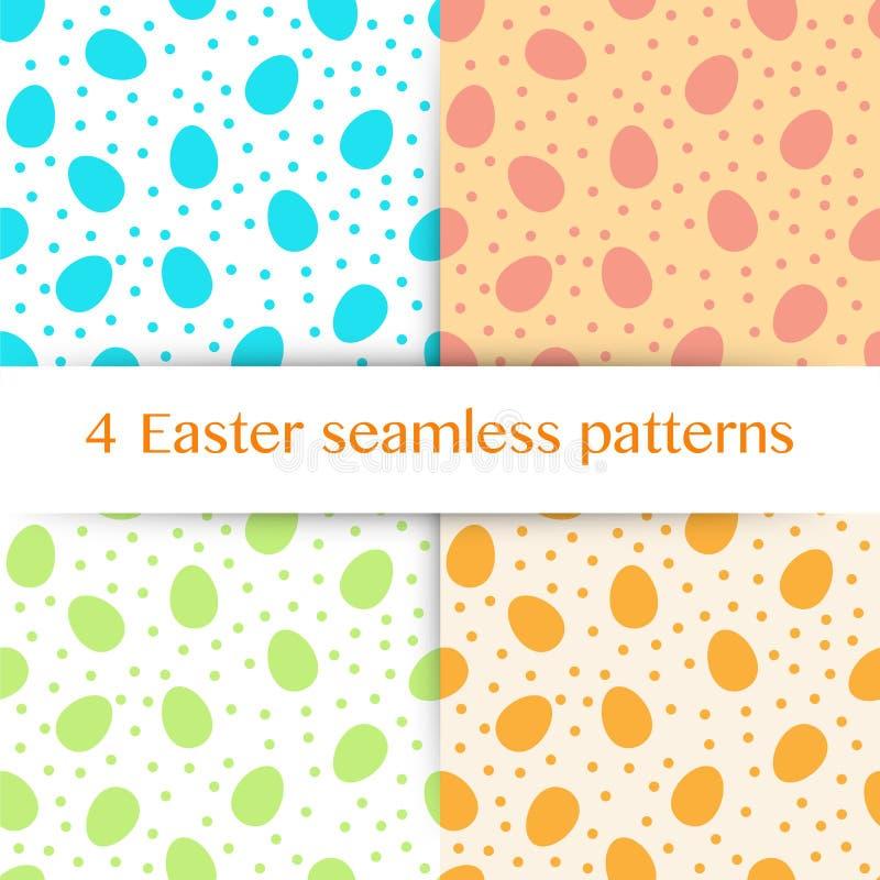 Σύνολο άνευ ραφής σχεδίου με τα αυγά Πάσχας και τα σημεία Πόλκα απεικόνιση αποθεμάτων