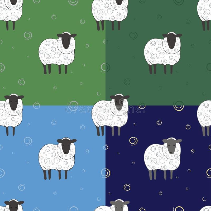Σύνολο άνευ ραφής σχεδίου με τα πρόβατα απεικόνιση αποθεμάτων