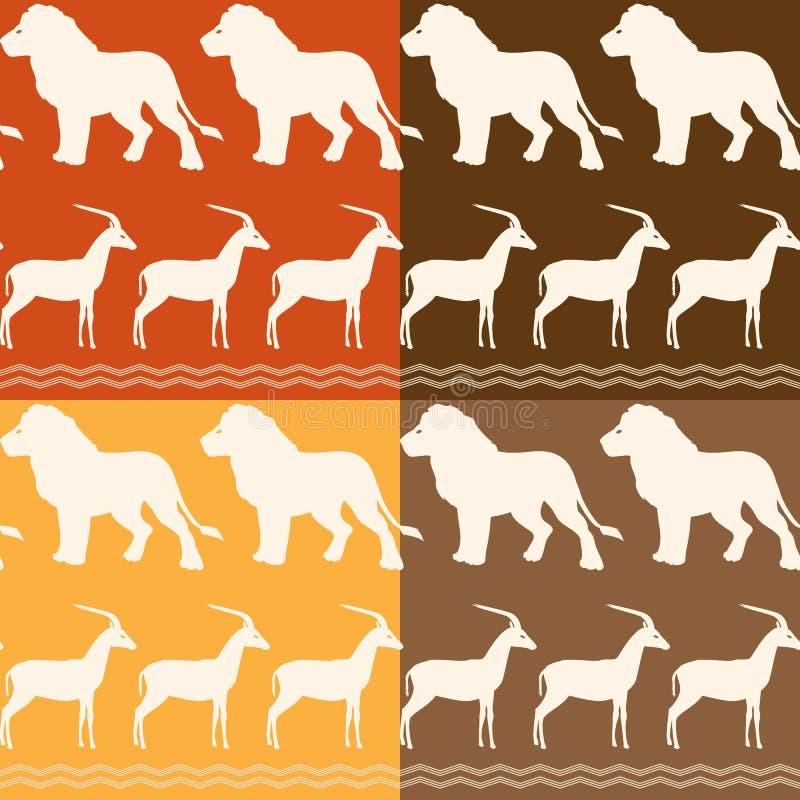 Σύνολο άνευ ραφής σχεδίων με το λιοντάρι και gazelle απεικόνιση αποθεμάτων