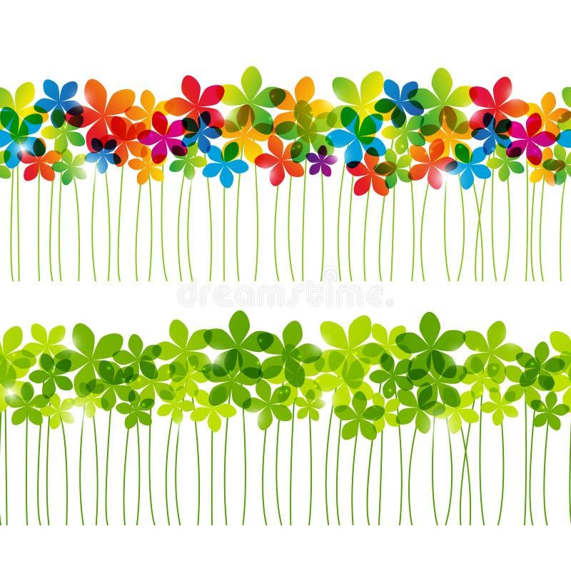 Σύνολο άνευ ραφής floral συνόρων διανυσματική απεικόνιση
