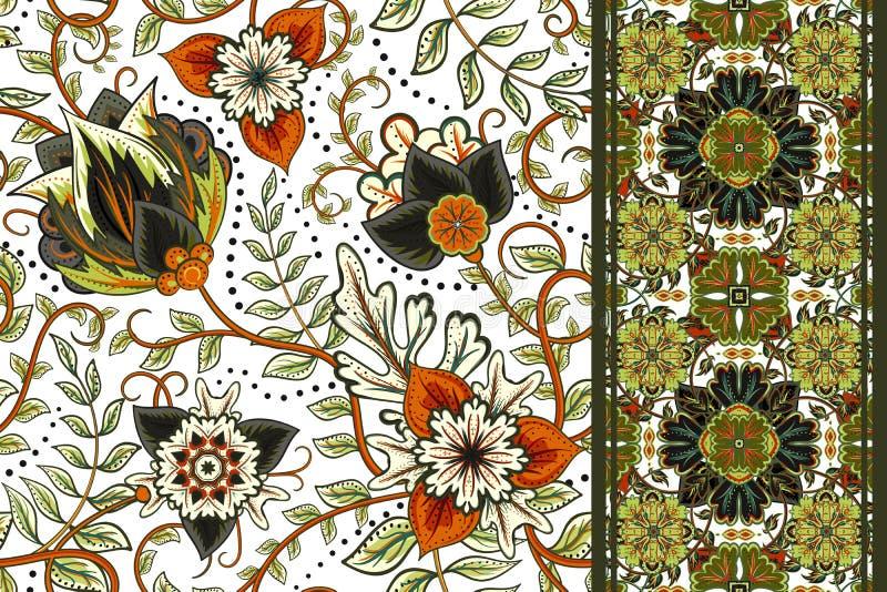 Σύνολο άνευ ραφής floral σχεδίου και συνόρων για το σχέδιο Το χέρι σύρει τη διανυσματική απεικόνιση η ανασκόπηση ανθίζει άνευ &rh στοκ φωτογραφία με δικαίωμα ελεύθερης χρήσης