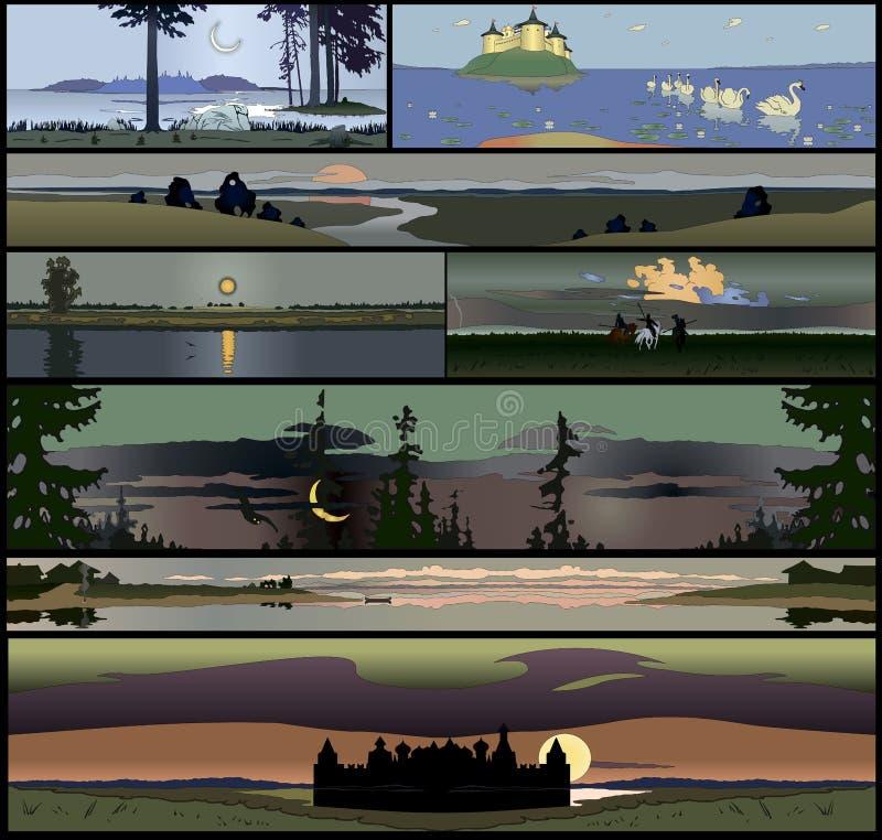 Σύνολο 8 άνευ ραφής panoramical τοπίων απεικόνιση αποθεμάτων