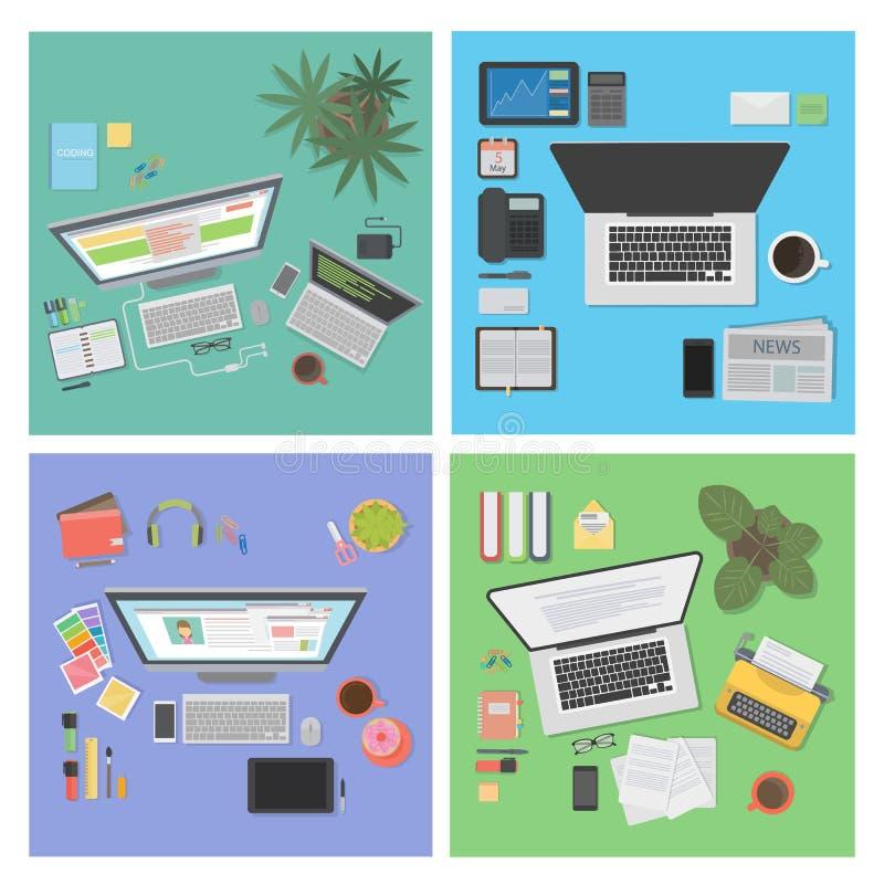 Σύνολο άποψης υπολογιστών γραφείου ελεύθερη απεικόνιση δικαιώματος