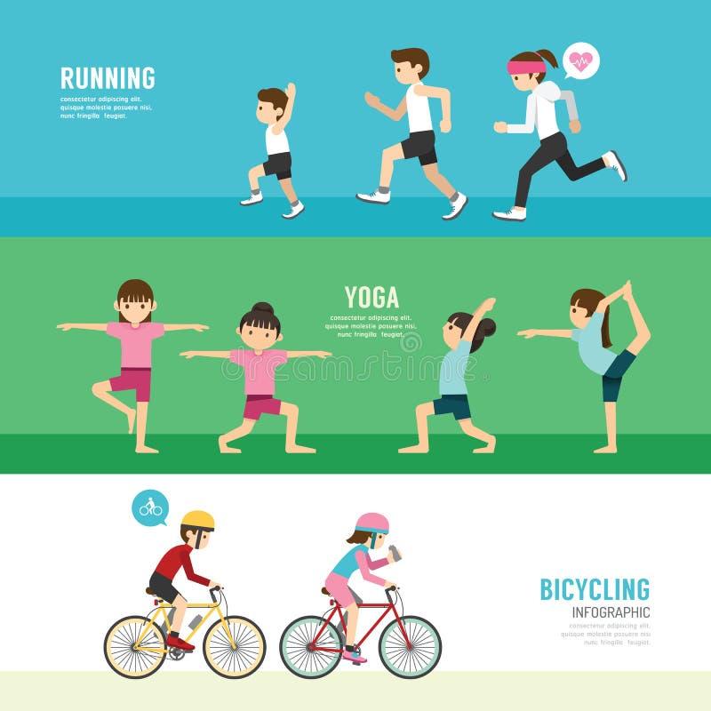 Σύνολο άσκησης ανθρώπων έννοιας υγείας αθλητικού σχεδίου διανυσματική απεικόνιση