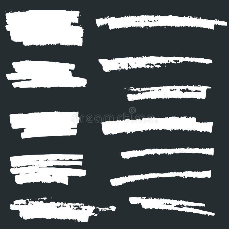 Σύνολο άσπρου χρώματος, κτυπήματα βουρτσών μελανιού, βούρτσες, γραμμές Άσπρα καλλιτεχνικά στοιχεία σχεδίου ελεύθερη απεικόνιση δικαιώματος