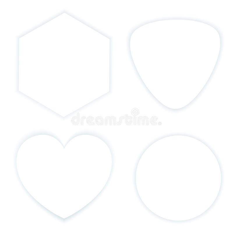 Σύνολο άσπρων ετικετών με τη σκιά στο λευκό διανυσματική απεικόνιση