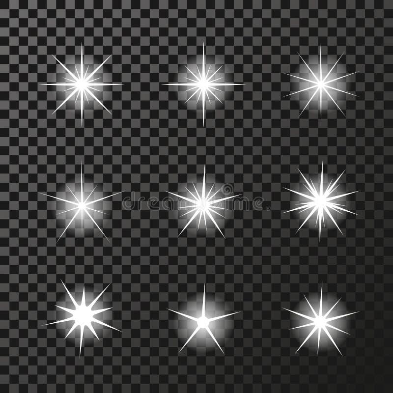 Σύνολο άσπρων συμβόλων σπινθηρισμάτων στο σκοτεινό υπόβαθρο - το αστέρι ακτινοβολεί, αστρική φλόγα διαφάνειας Να λάμψει αντανακλά απεικόνιση αποθεμάτων