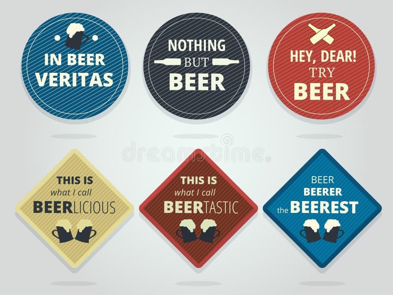 Σύνολο έγχρωμων στρογγυλών και τετραγωνικών έτοιμων ακτοφυλάκων μπύρας με τα συνθήματα διανυσματική απεικόνιση