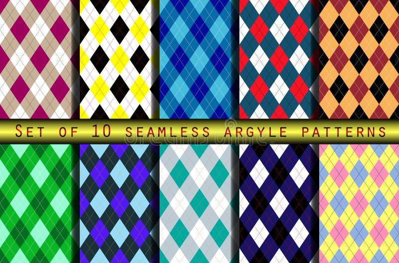 Σύνολο δέκα άνευ ραφής σχεδίων argyle ελεύθερη απεικόνιση δικαιώματος